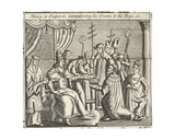 Henry 4 Emperor Surrendering His Crown to the Pope, Illustration from 'Acts and Monuments' by… Giclee Print