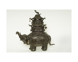 Figure of an Elephant Wearing a Howdah Cloth, Elaborate Surcingle and a Pagoda Buliding Giclee Print
