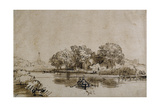A Man Sculling a Boat on the Bullewijk, with a View Toward Ouderkerk, C.1650 Giclee Print by  Rembrandt van Rijn