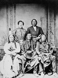 Group Portrait of Sitting Bull, Swift Bear, Spotted Tail, Julius Meyer, and Red Cloud, 1875 Photographic Print by Frank F. Currier