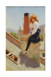 Girl on a Chimney Stack Giclee Print by Percy Tarrant