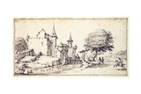 A Chateau with Drawbridge Giclee Print by Jacques Callot