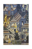 Mural with Scenes of Thai Culture, Wat Pho, Bangkok, Thailand Giclee Print