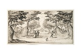 A Fine Lady and Gentleman Dancing in the Woods to a Lute, a Chateau in the Distance Giclee Print by Jacques Callot