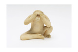 See No Evil, One of the Three Wise Monkeys Giclee Print by  Japanese School
