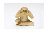 Speak No Evil, One of the Three Wise Monkeys Giclee Print by  Japanese School