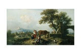 A Pastoral Scene with Cowherds, C.1750 Giclee Print by Francesco Zuccarelli
