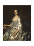 Mary, Wife of Henry, 7th Lord Arundell of Wardour, in a Grey Satin Dress, Holding Roses by a Table Giclee Print by George Knapton