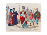 Court Costumes in France During the 13th Century, Illustration from 'Costumes De Paris a Travers… Giclee Print by  Gerlier