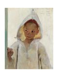 Portrait of a Young Boy Wearing a Burnous Giclee Print by Henri Jules Jean Geoffroy