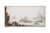 A Galley Rammed Amidships by a Man-O'-War under Sail Within Sight of Harbour, C.1617 Giclee Print by Jacques Callot