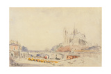 View of the Pont De La Tournelle and Notre-Dame De Paris Giclee Print by Albert-Charles Lebourg