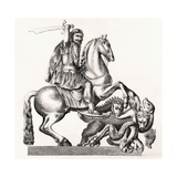 King Charles II of England Represented as St George Slaying the Dragon, 1855 Giclee Print by Gottfried Leigeber