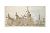 A Turreted Chateau and a Church Giclee Print by Jacques Callot