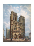 View of the West Facade of the Cathedral of Notre-Dame, Paris, C.1840 Giclee Print by Philippe Benoist
