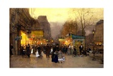 Porte St Martin at Christmas Time, Paris, C.1890 Giclee Print by Luigi Loir