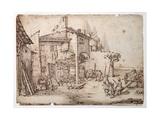 An Italian Farmyard Giclee Print by Jacques Callot