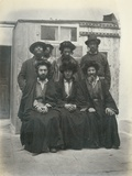 Group of 7 Polish Jews in the Courtyard of the Mediterranean Hotel, Jerusalem, 1867 Photographic Print by Corporal Henry Phillips