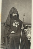 Armenian Patriarch Sitting Next to a Table, Holding a Sceptre, 1867 Photographic Print by Corporal Henry Phillips
