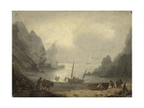 A Devonshire Inlet with Fishermen Unloading their Catch onto the Foreshore, C.1804 Giclee Print by Thomas Luny