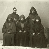 Group of 5 Armenian Priests in the Courtyard of the Mediterranean Hotel, Jerusalem, 1867 Photographic Print by Corporal Henry Phillips