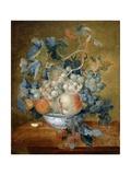 A Delft Bowl with Fruit, C.1730 Reproduction procédé giclée par Michiel van Huysum