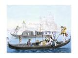 Venetian Gondola, from 'Vedute Dei Principali Monumenti Di Venezia', C.1850 Giclee Print by Giovanni Battista Cecchini