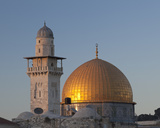The Dome of the Rock and the Minaret of the Women's Mosque at Sunset, East Jerusalem Photographic Print