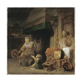 Woman Spinning Giclee Print by Pieter de Nys