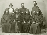 Group of 4 Armenian Priests and 3 Others in the Courtyard at the Mediterranean Hotel, Jerusalem,… Photographic Print by Corporal Henry Phillips
