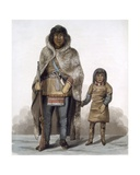 Portrait of Akaitcho and His Son, 1824 Giclee Print by Lieutenant Hood