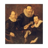 Group Portrait of Three Gentlemen, Three-Quarter Length, Seated in Black Costumes with Lace… Giclee Print by Thomas de Keyser