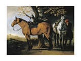 Two Horses Giclee Print by Abraham van Calraet