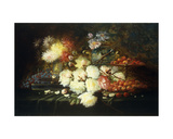 Still Life with Roses, Chrysanthemums, Grapes and Strawberries Giclee Print by Modeste Carlier