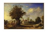 The Yeldham Oak at Great Yeldham, Essex, 1833 Giclée-tryk af James Ward
