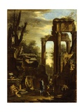 Capriccio of Classical Ruins and Statuary with Figures Conversing Giclee Print by Giovanni Ghisolfi