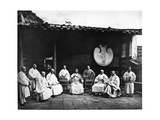 The Abbot and Monks of Kushan Monastery, C.1867-72 Photographic Print by John Thomson