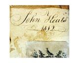 John Keats' Signature, 1812 Giclee Print by John Keats