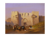 View of Damascus Gate with Camel Drivers, Jerusalem, C.1844 Giclee Print by Ippolito Caffi