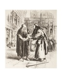 Illustration for the Merchant of Venice, Shylock and Tubal Meet in the Street, Act III, Scene I,… Giclee Print by Sir John Gilbert