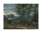 The Park of the Viceregal Palace, Brussels, with Elegant Company by a Fountain Giclee Print by Pieter Meulener