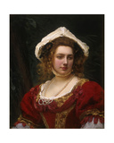 Portrait of an Elegant Lady in a Red Velvet Dress Giclee Print by Gustave Jacquet