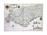 Map of 'Provincia' or Provence, Now Part of Southern France, 1638 Giclee Print by Willem Janszoon Blaeu