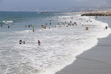 Surf and Beach Scene from Venice Pier on Venice Beach in the Venice Area of Los Angeles Photographic Print