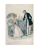 Woman with Umbrella and Man in Frock Coat in a Garden, Fashion Plate from 'Journal Des Dames Et… Giclee Print