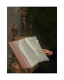 Detail of Portrait of a Theologian with His Secretary, 1668 Giclee Print by Jacob Van Oost