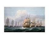 Capt. Beresford in Hms Theseus Leading His Squadron of Ships from 'The Naval Chronology of Great… Giclee Print by Frederick Christian Lewis