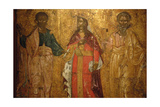 St. Jason, St. Sosipater and St. Kerkyra. Byzantine Fresco. 17th Century. Old Fortress Museum.… Giclee Print
