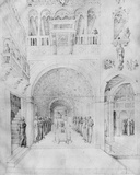 Death of the Virgin in the Rich Architecture of a Venetian Palace, from the Jacopo Bellini's… Photographic Print by Jacopo Bellini