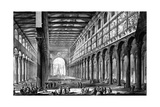 View of the Interior of Basilica of San Paolo Fuori Le Mura, from the 'Views of Rome' Series,… Giclee Print by Giovanni Battista Piranesi